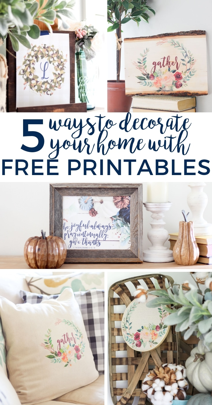 Free printables are a great way to decorate your home in a quick, easy way. Check out these 5 ideas for decorating with printables on a budget.