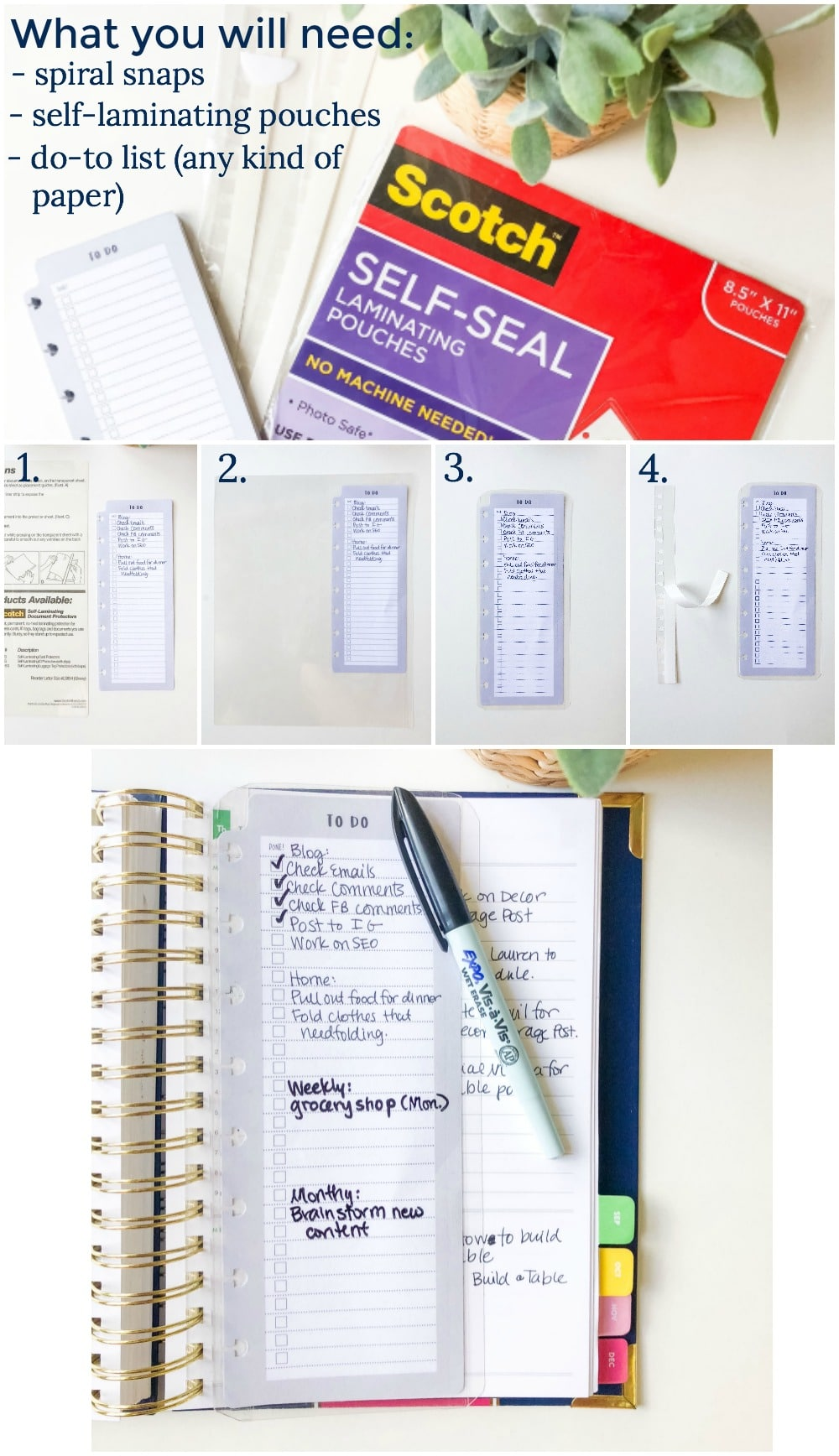 My to-do list hack for Emily Ley's Simplified Planner. LOVE this laminated to-do list bookmarker.