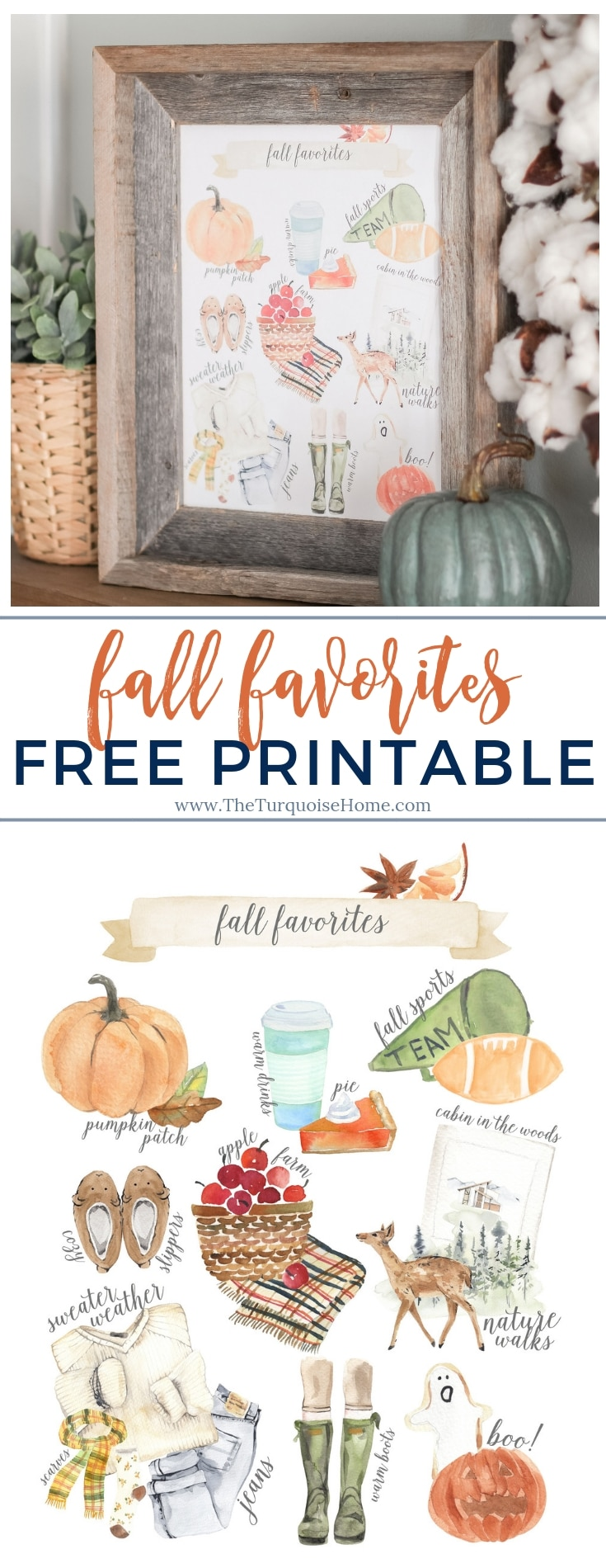Fall Favorites Free Printable - ready to download, print and frame! Perfect way to add to your fall decor. #falldecor #fallfavorites #freeprintable