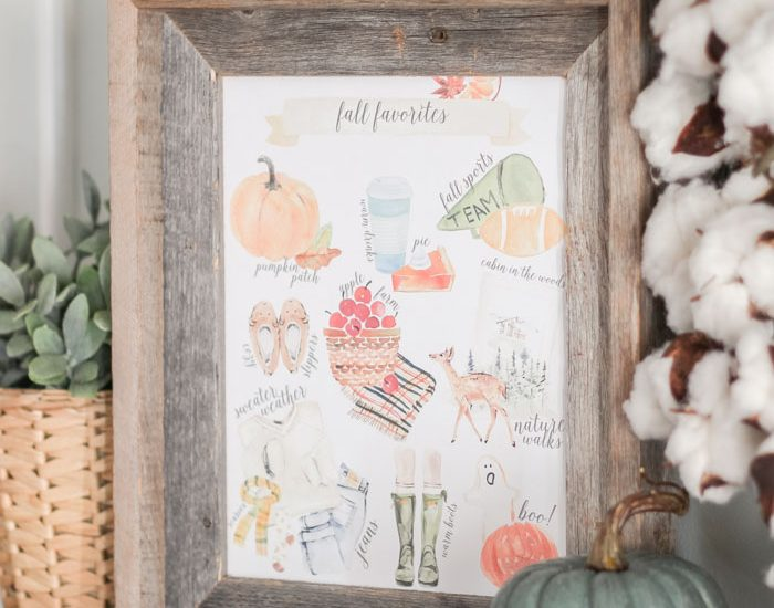 Cozy Fall Favorites Free Printable just for you! Ready to download, print and frame!