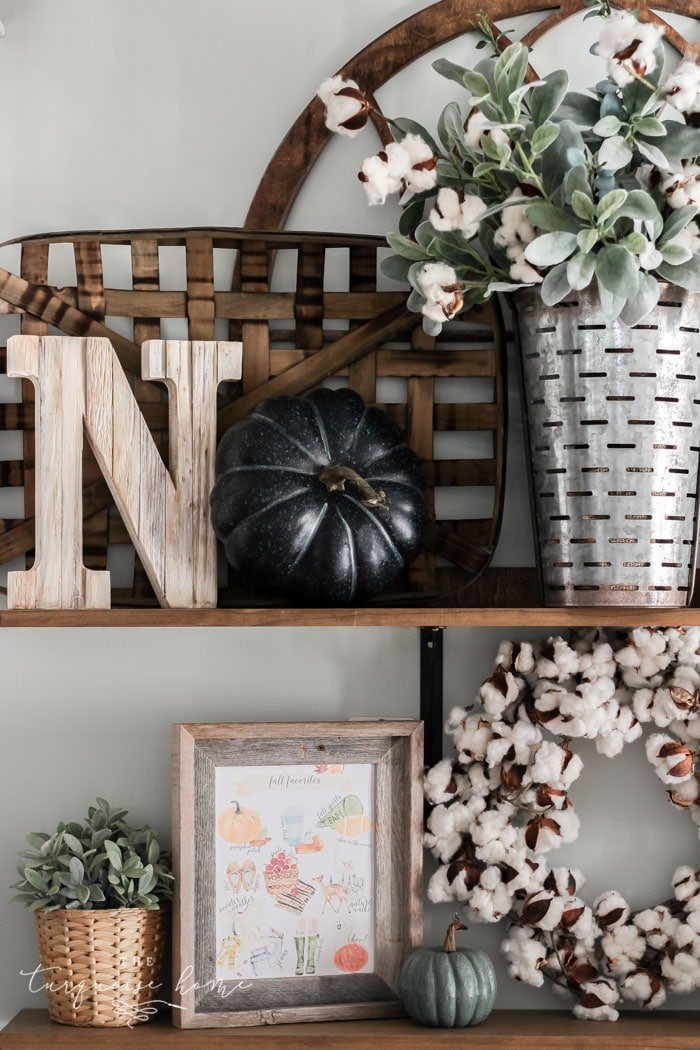 Cozy Fall Favorites Free Printable on Open Kitchen Shelves