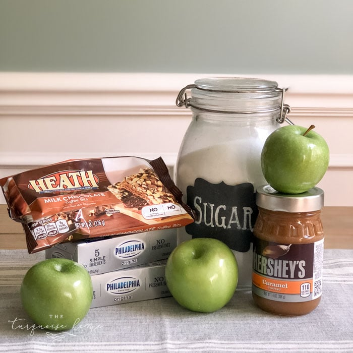 Ingredients to make Cream Cheese Caramel Apple Dip