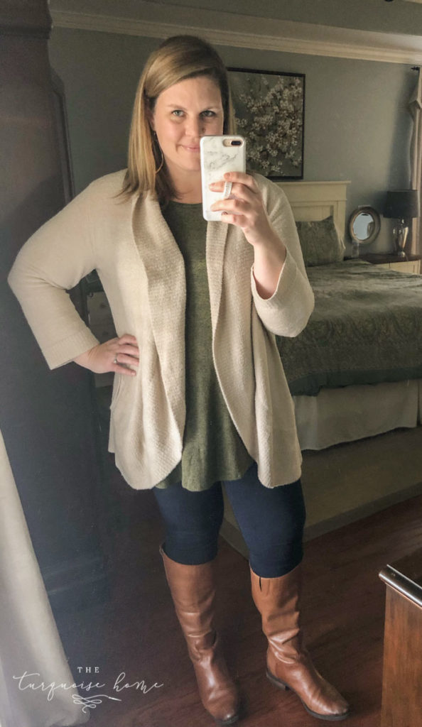 Cozy Fall Outfits for Curvy Ladies - cozy cardigan, tank top, skinny jeans, riding boots