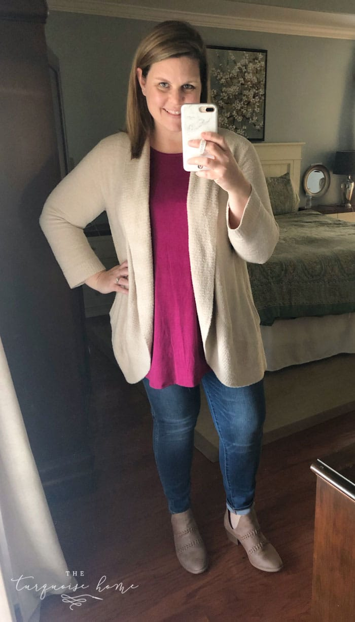 Cozy Fall Outfits for Curvy Ladies - cozy cardigan, tank top, skinny jeans, booties