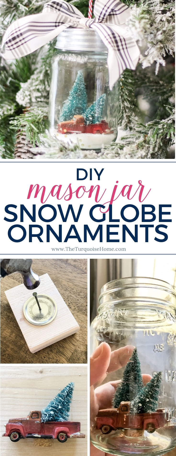 DIY Mason Jar Snow Globe Ornaments with a red truck and bottle brush tree