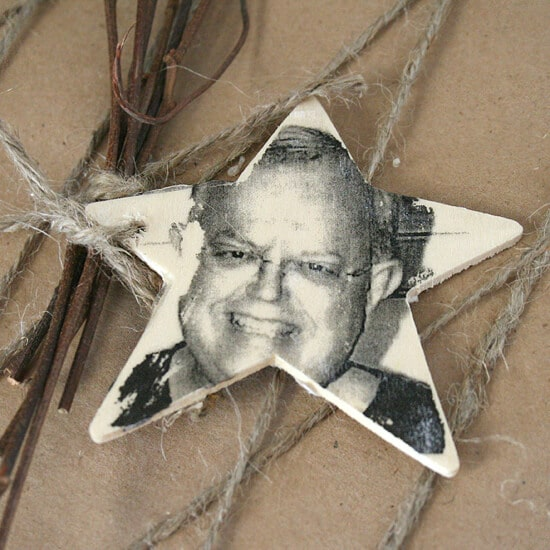 Photo Transfer Wood Ornaments   25 DIY Christmas Gift Ideas