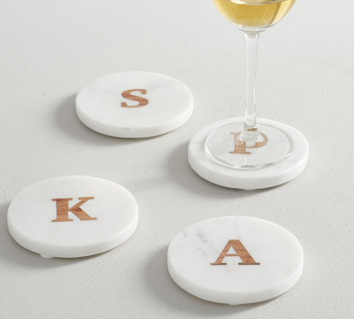 Wood and Marble Coasters - perfect for a host & hostess gift!