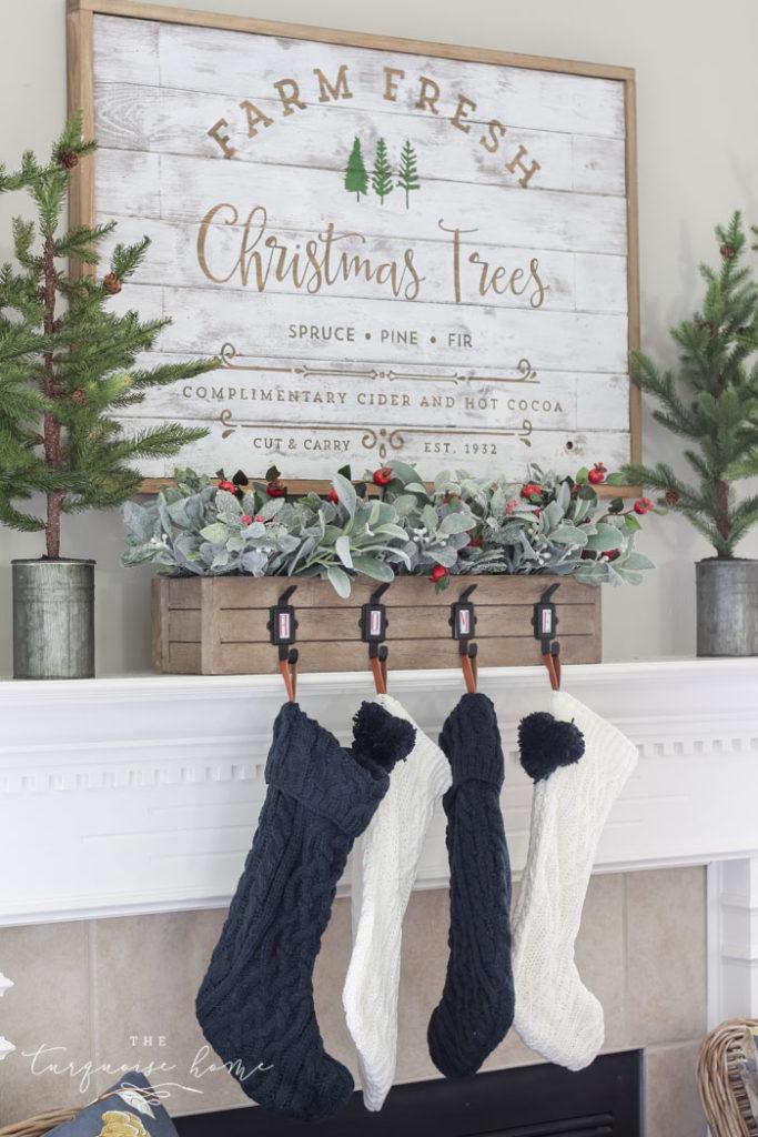 Christmas mantel with DIY wood sign