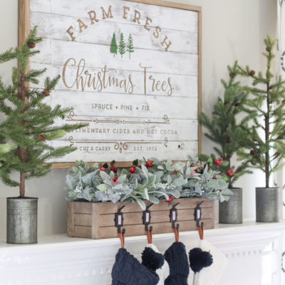 Green & Navy Christmas Mantel 2018