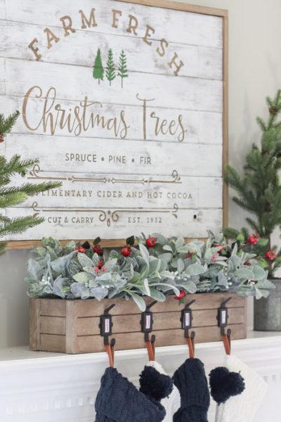 Green and Navy Christmas Mantel 2018