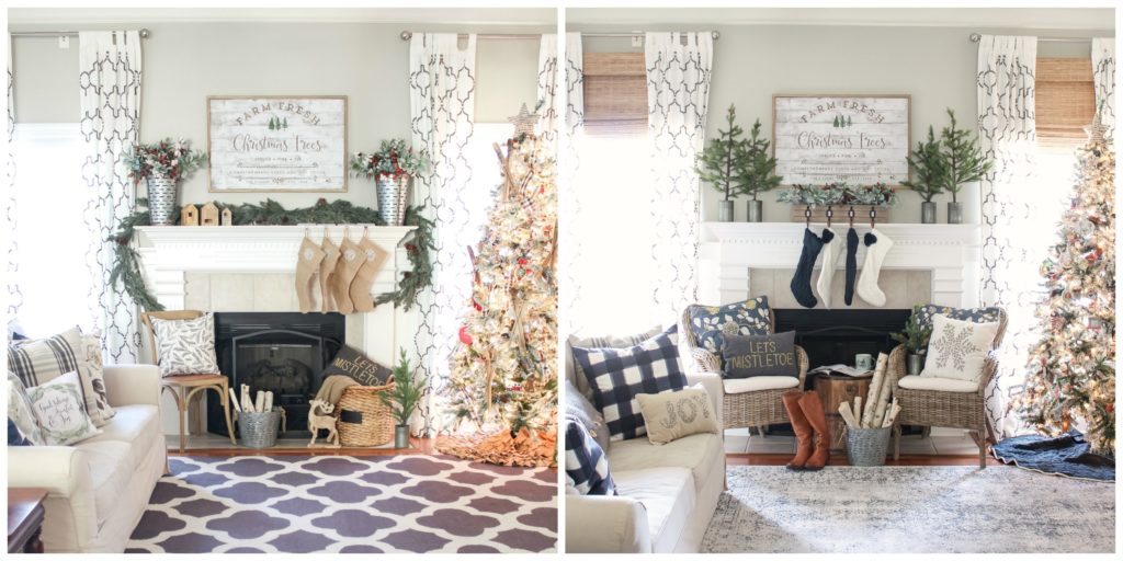 Green and Navy Christmas Mantel 2018 - Before and After