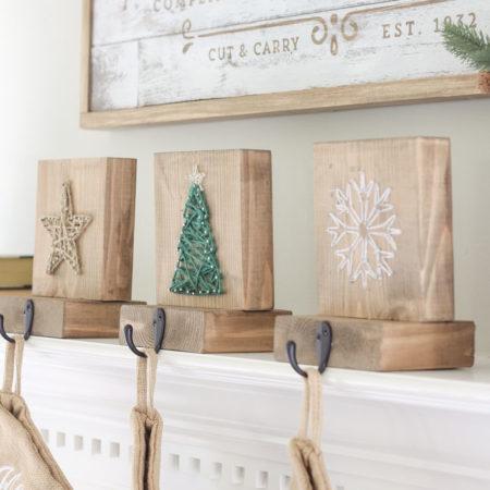 DIY String Art Christmas Stocking Holders