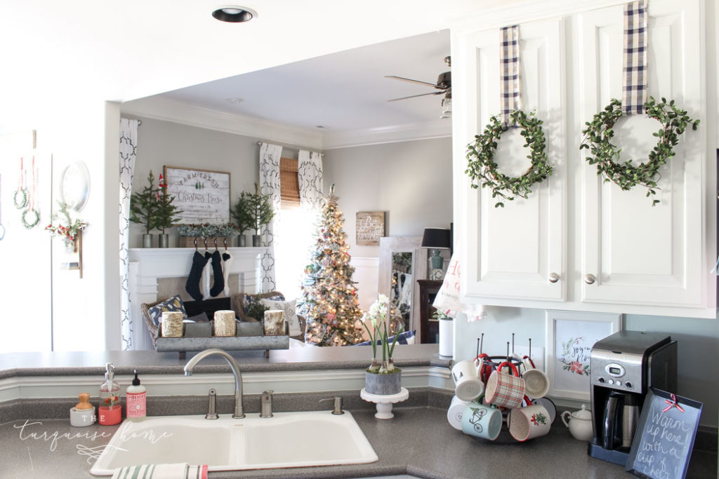 Christmas Kitchen with Hanging Wreaths