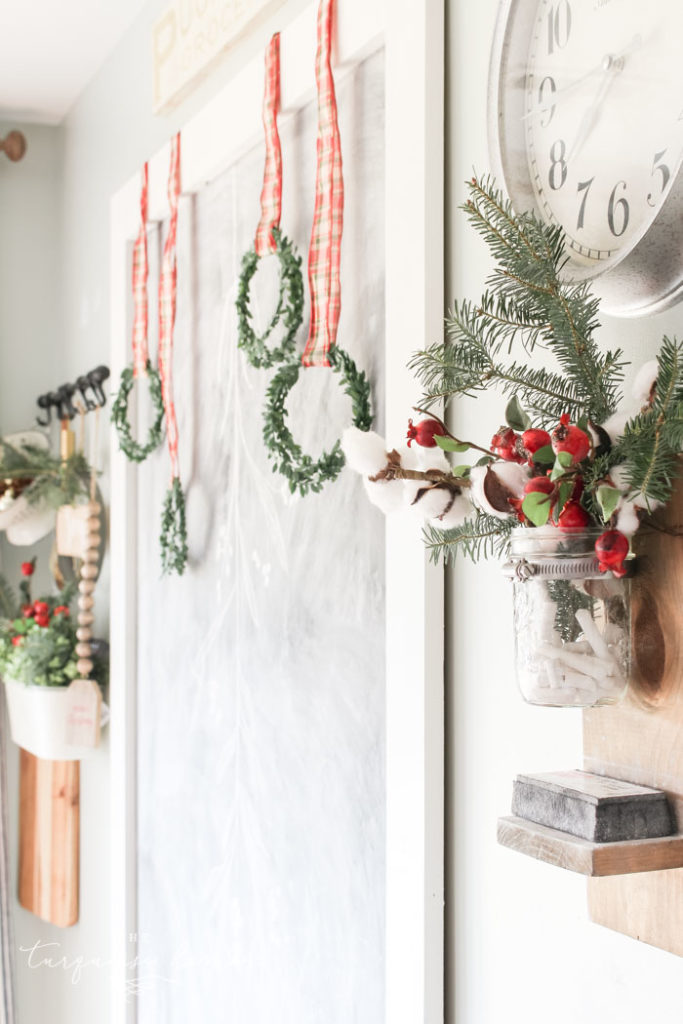 Christmas Ribbon on Wreaths in the Kitchen