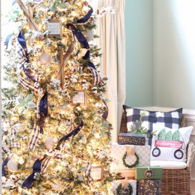 A Navy & Green Farmhouse Christmas Tree