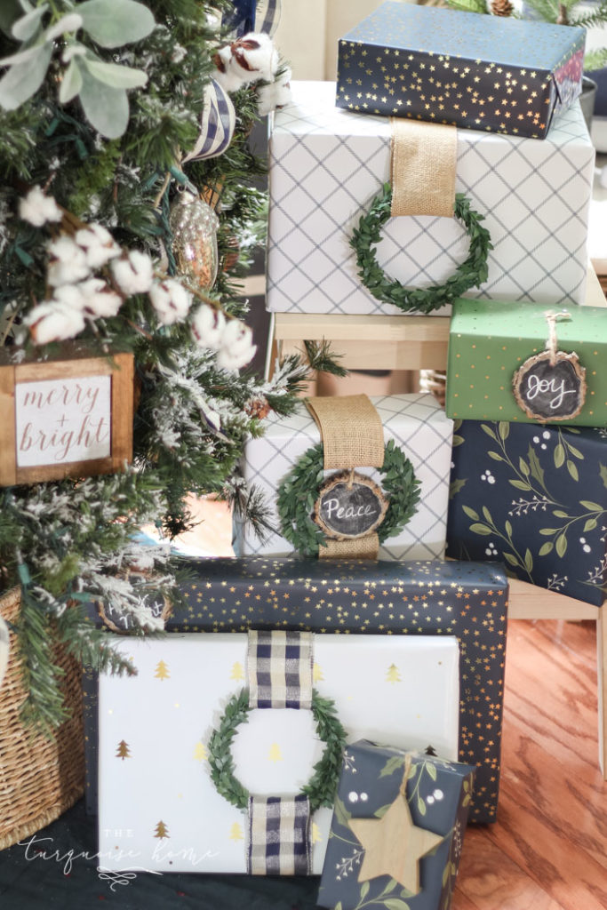 Christmas Gifts with ribbon and wreath embellishments