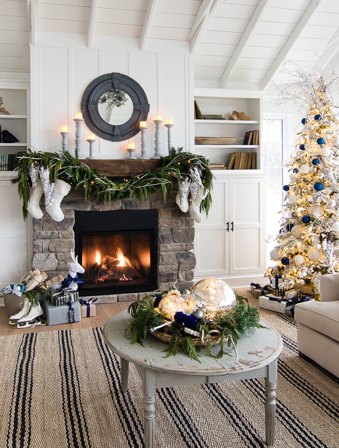 Navy & White Flocked Christmas Tree at The Lilypad Cottage