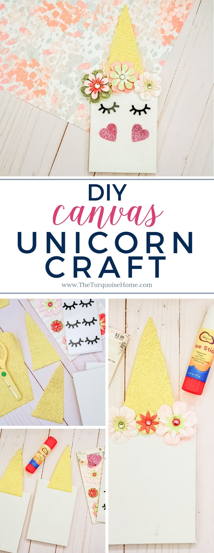 DIY Canvas Unicorn Craft - super easy and just 5 steps!