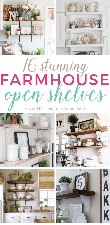 16 Stunning Farmhouse Open Shelving Ideas - tons of gorgeous DIY inspiration!