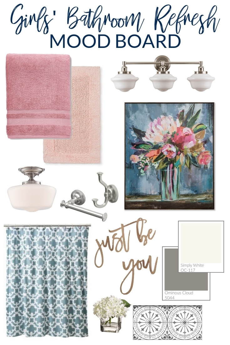 Girls' Bathroom Refresh Plans and Mood Board