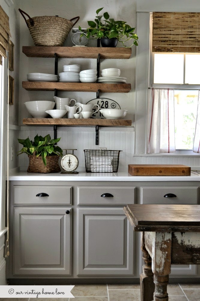 Reclaimed Wood Farmhouse Open Shelves