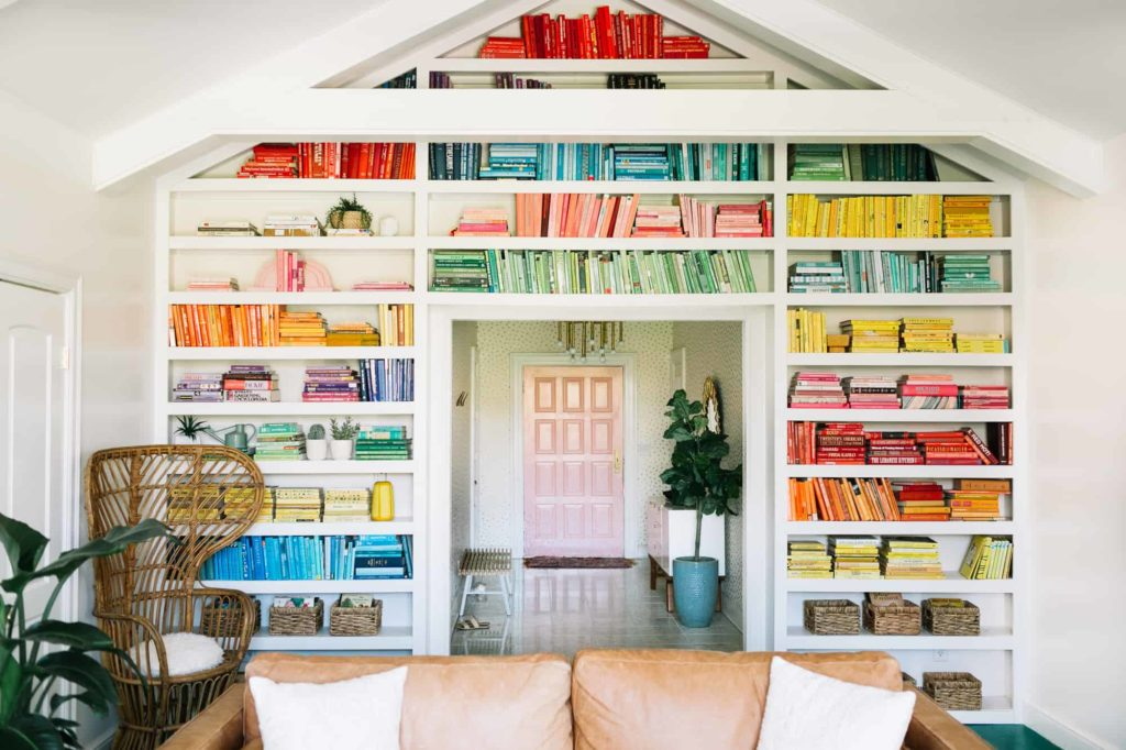 How to use books as bookshelf decor by A Beautiful Mess