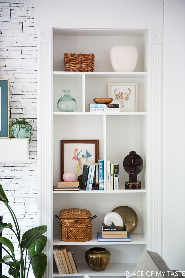How to Decorate a Bookshelf -->> Billy Bookcase Built-ins with Storage