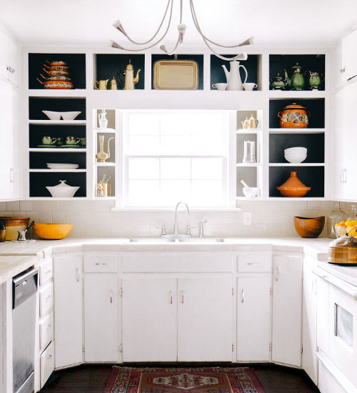 Remove the kitchen cabinet doors to give the kitchen an updated look!