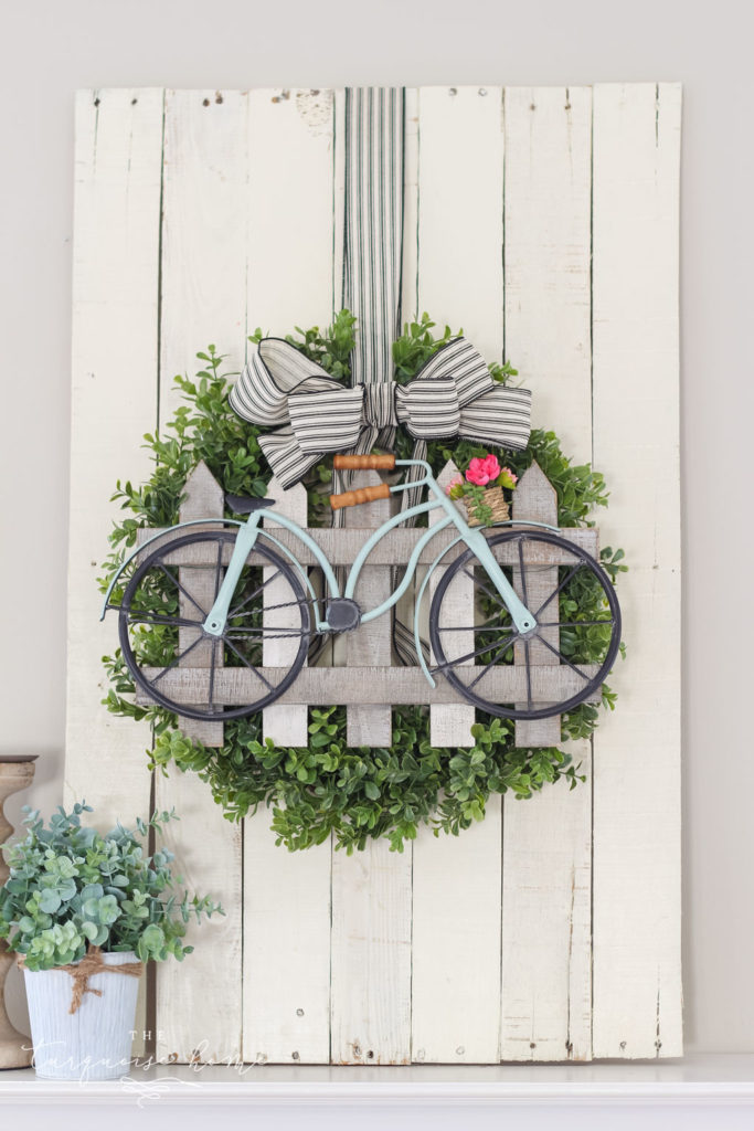 Boxwood and Bicycle DIY Spring Wreath