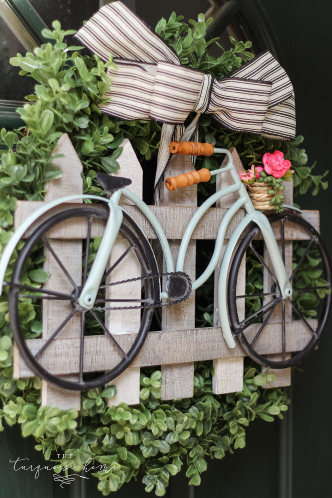 DIY Boxwood and Bicycle Spring Wreath - easy 5-step DIY project!
