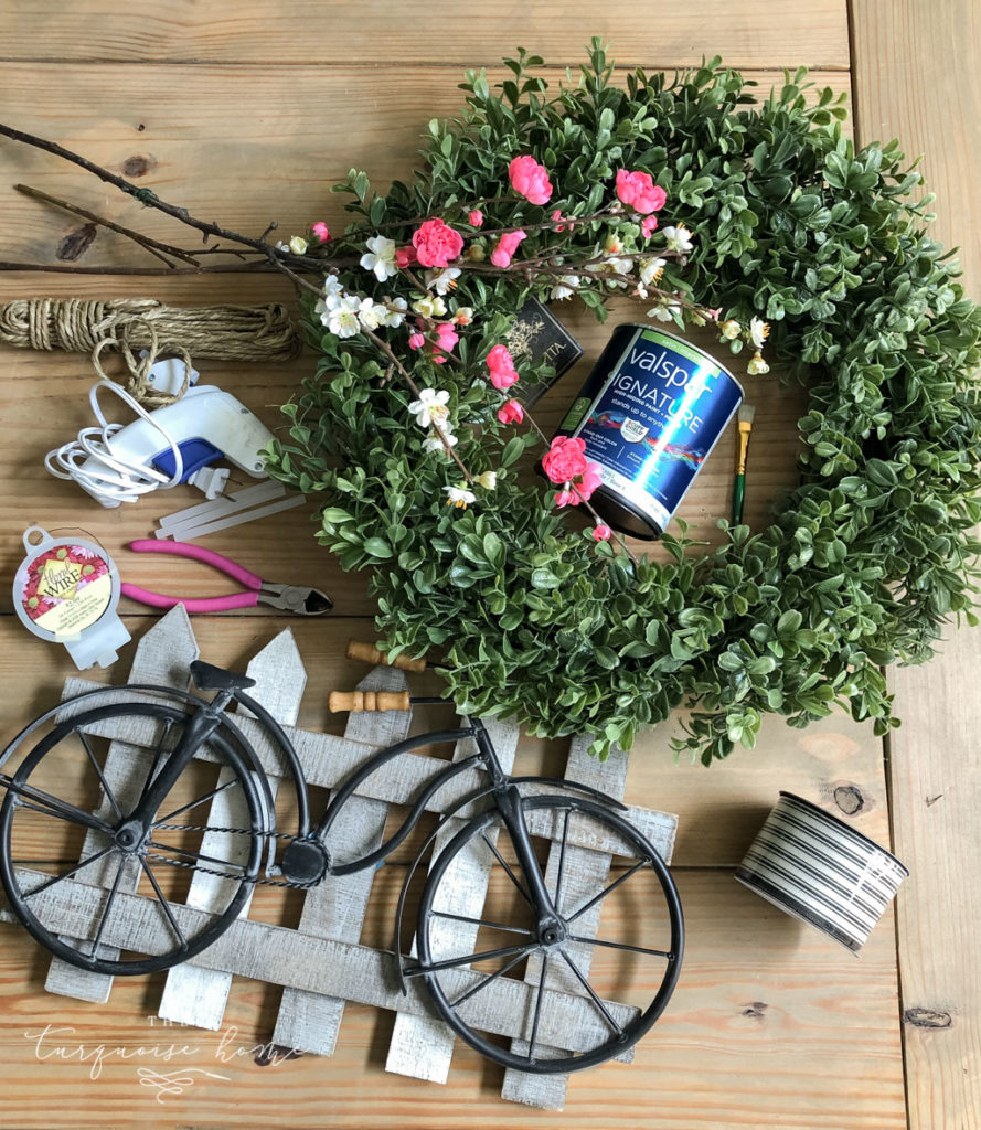DIY Boxwood and Bicycle Spring Wreath - supplies to make the wreath