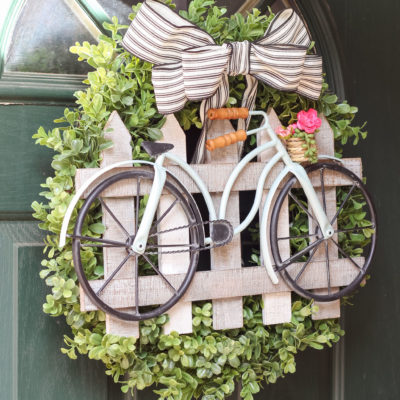 DIY Boxwood & Bicycle Spring Wreath