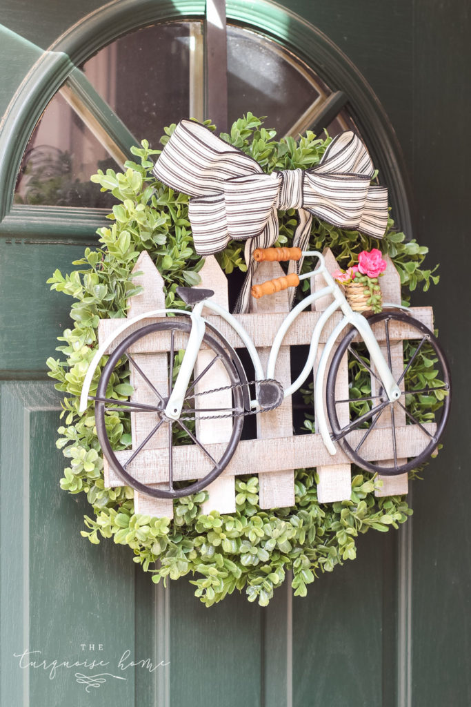 DIY Boxwood and Bicycle Spring Wreath