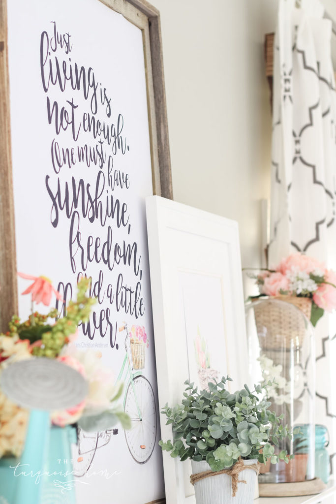 Adorable spring mantel with tons of floral inspiration!