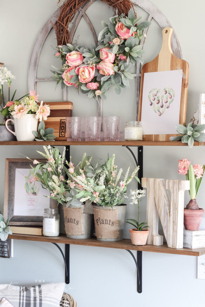 The flower shop in my kitchen - so cute for decorating open shelves!