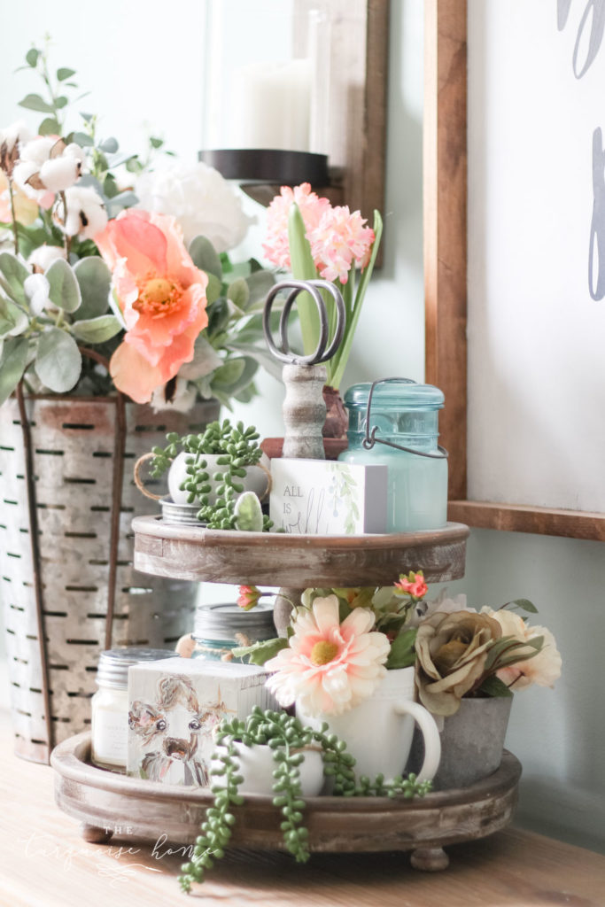 Floral Spring Home Tour with fun tiered tray all decorated for spring!