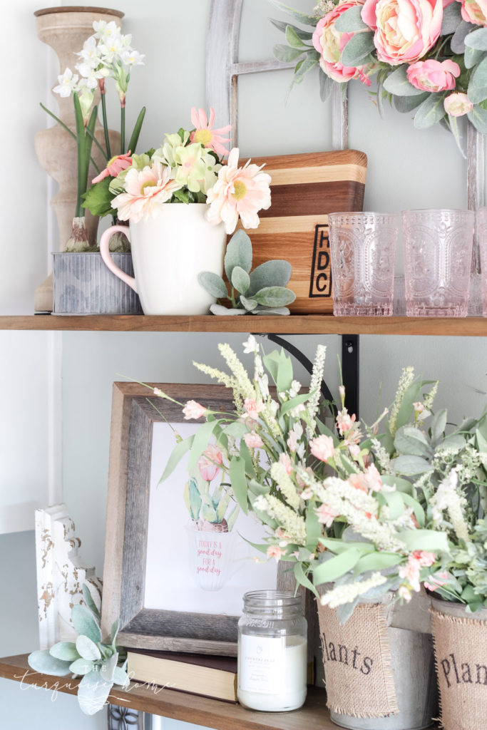All the pretty flowers in the open kitchen shelves - remind me that spring is coming soon!