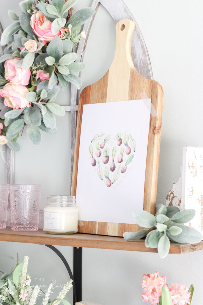 Floral Shop Open Shelves with Free Spring Printable - succulent bulbs!
