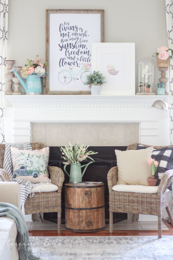 Spring has sprung with this floral market vibe spring mantel decor!