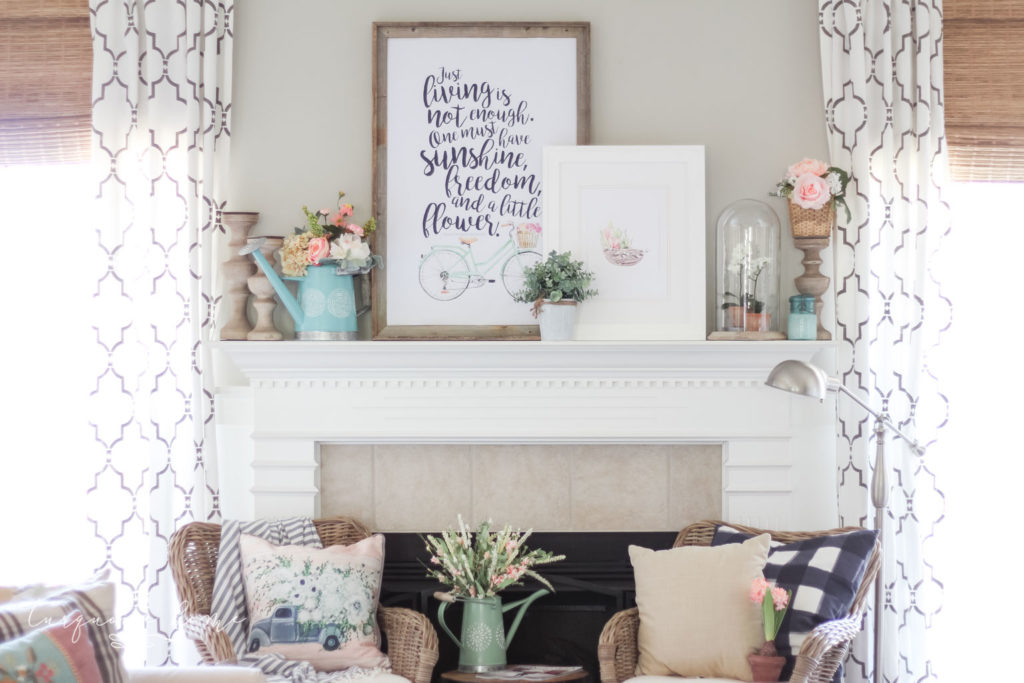 Spring Mantel in Living Room
