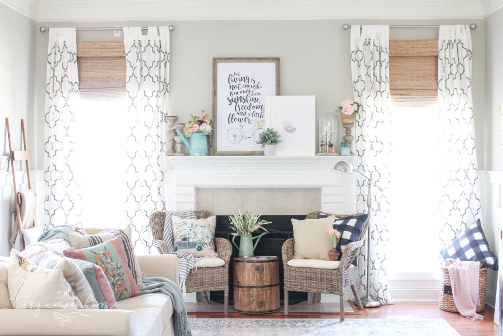 I'm loving all of the bright and light colors in this spring mantel!