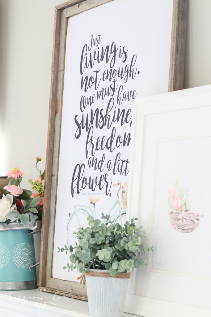 "blow up a free printable for huge spring art! ""Just living is not enough. One must have sunshine, freedom and a little flower."" - Hans Christian Andersen"