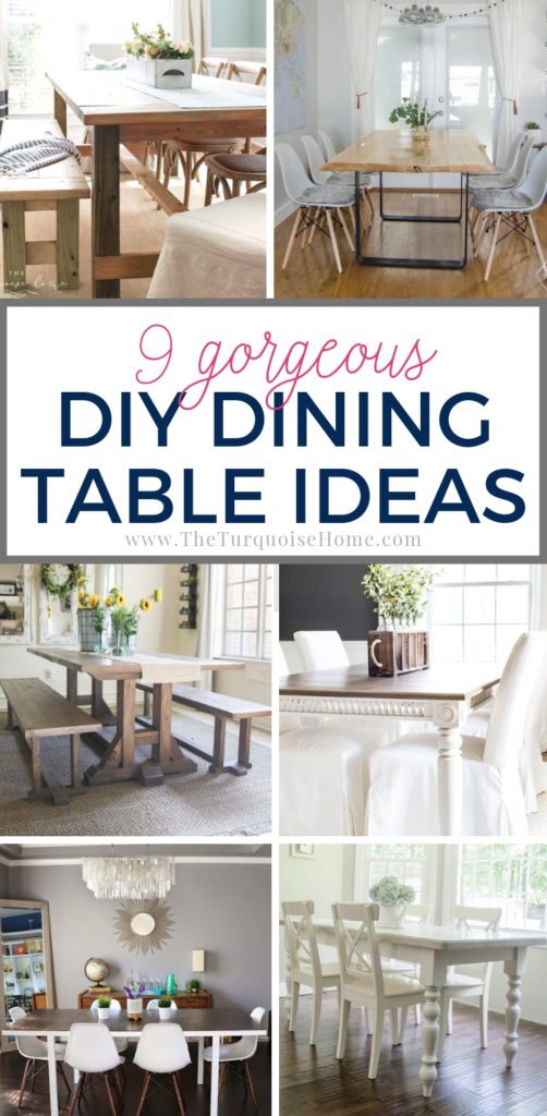 9 Gorgeous DIY Dining Table Ideas that you can make yourself! Need a budget-friendly dining table? These are perfect for you! Ranging from novice DIYer to more advanced, there's something for everyone!