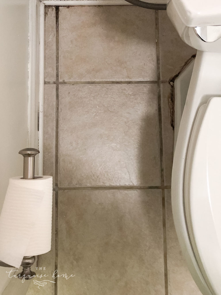 How to use grout paint - before pictures of gross, stained grout