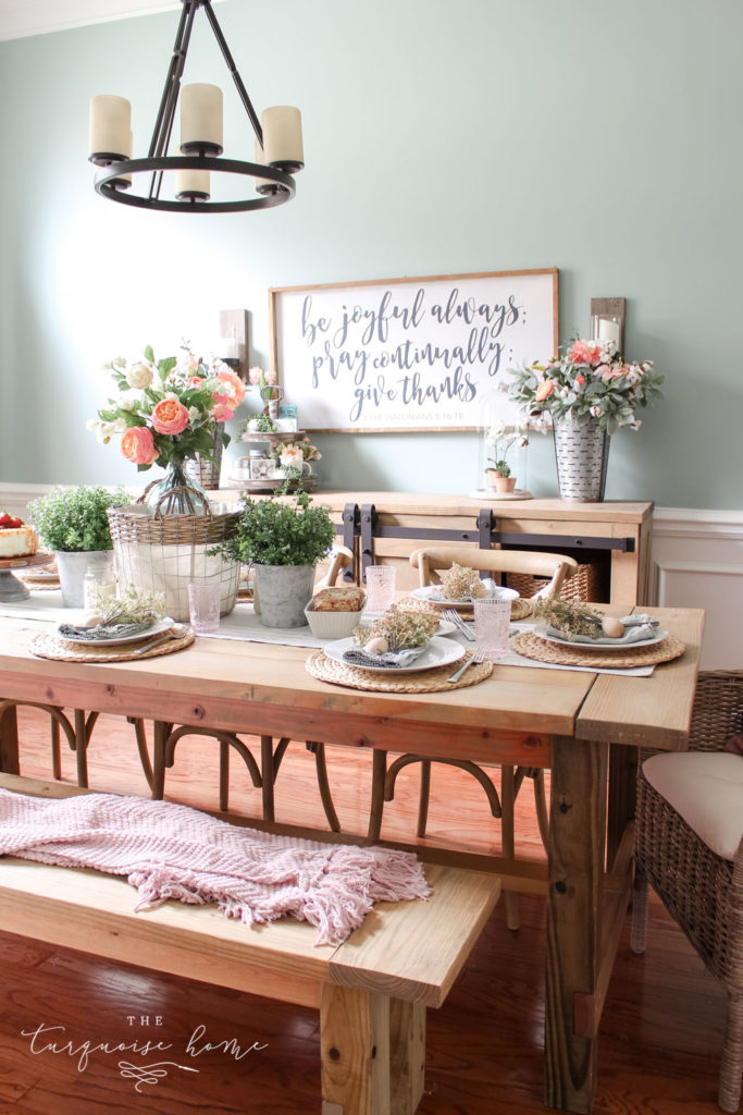 My floral spring tablescape with gorgeous faux botanicals!