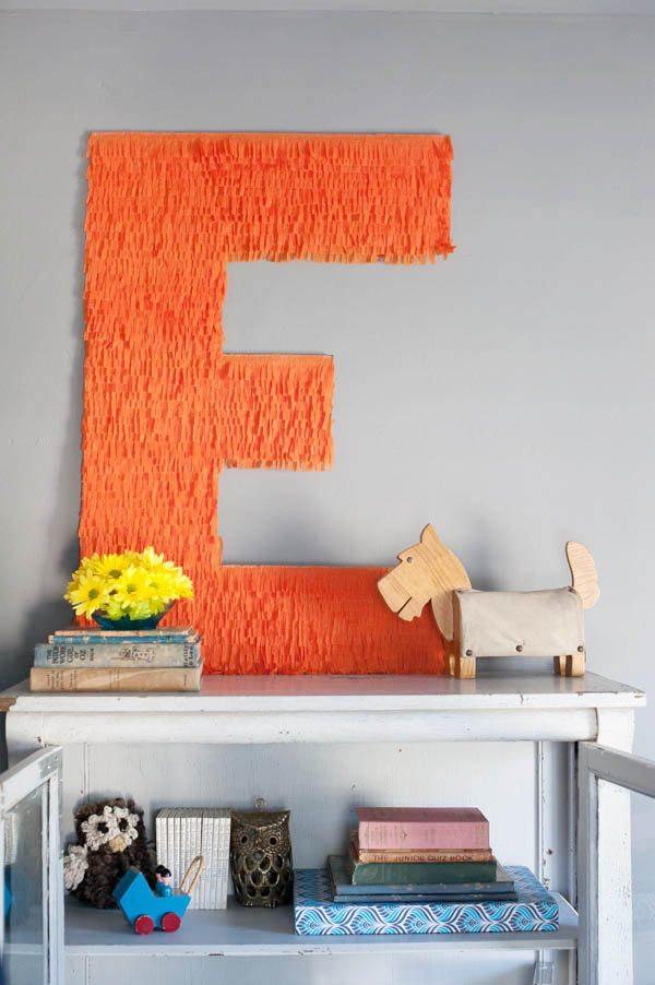 DIY monogrammed fringe letter