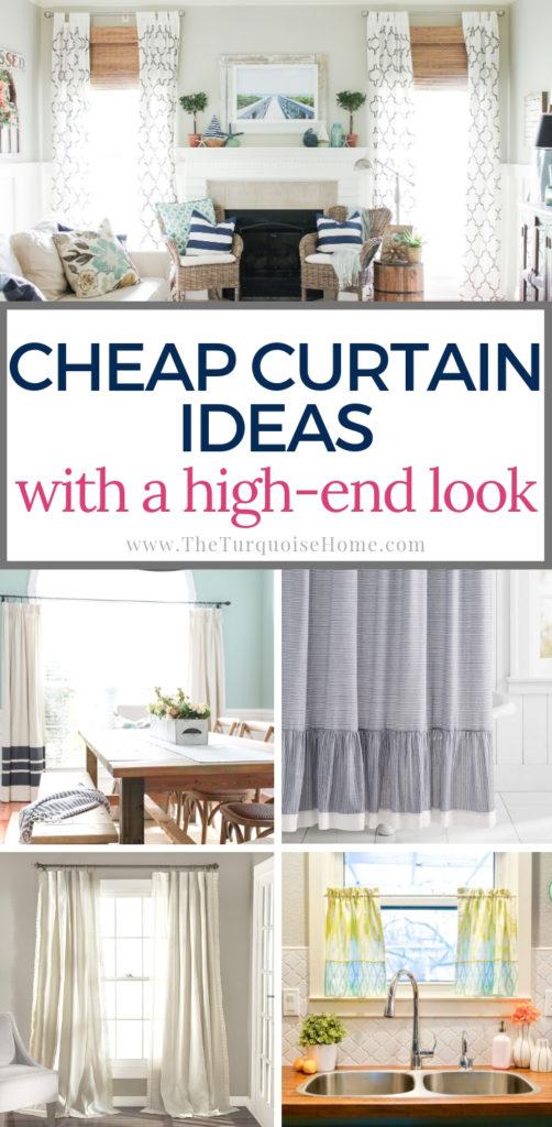 Cheap Curtain Ideas with a high-end look! #cheaphomedecor #diyhomedecoronabudget #diyhomedecor #cheapdiy #curtains #curtainideas #homedecor #homedecorideas #cheapcurtains #lookforless