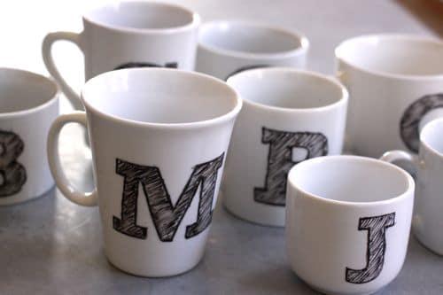 DIY monogrammed white mugs
