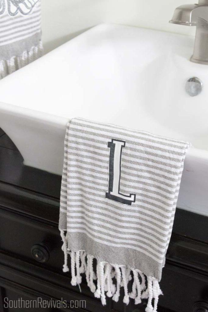 DIY monogrammed tea towel | DIY Home Decor on a Budget