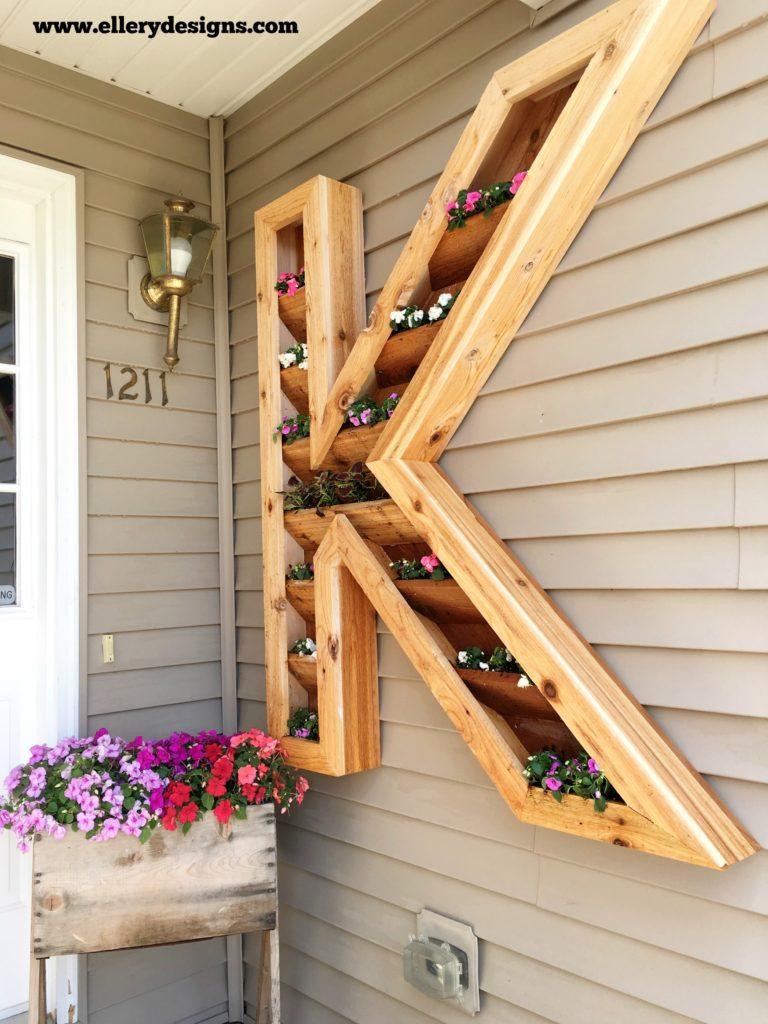 DIY Monogrammed Cedar Planter